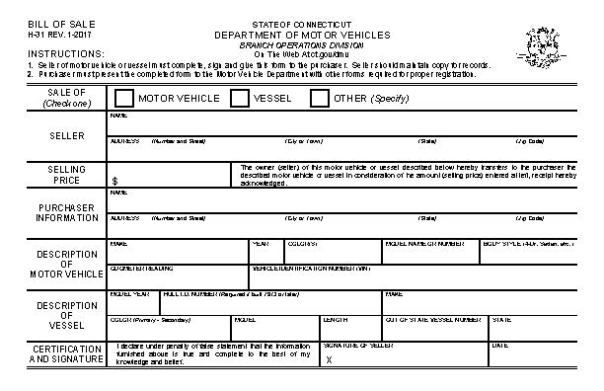 Connecticut Boat Bill of Sale Form
