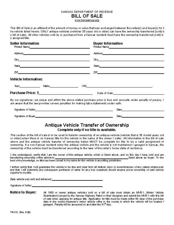 Kansas RV Bill of Sale Form