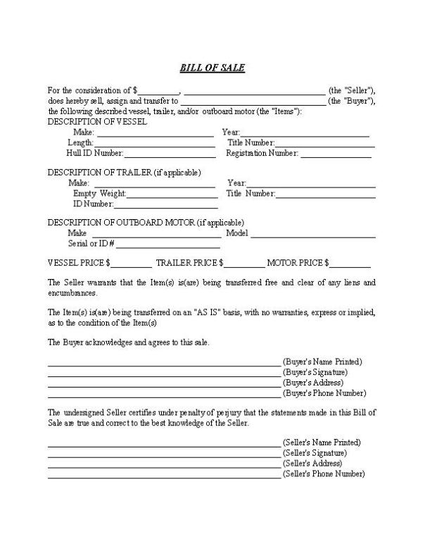 Massachusetts Boat and Trailer Bill of Sale Form