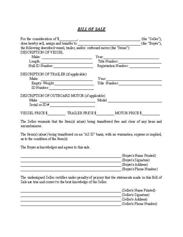 North Carolina Boat and Trailer Bill of Sale Form