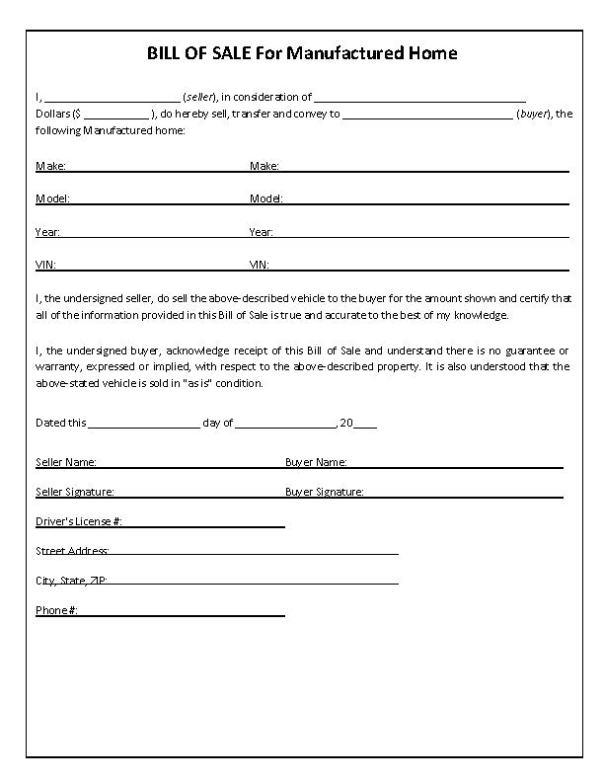 North Carolina Manufactured Home Bill of Sale Form