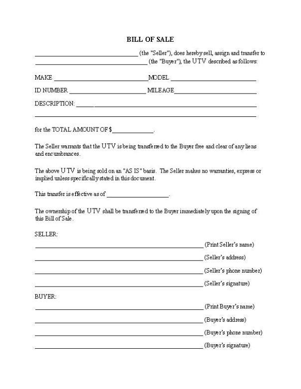 UTV Bill of Sale Form