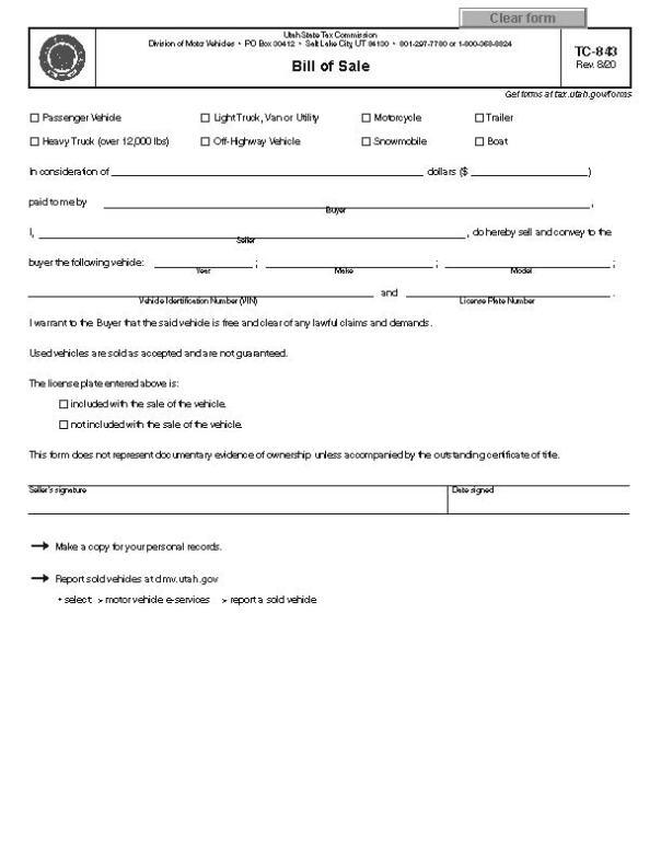 Utah RV Bill of Sale Form