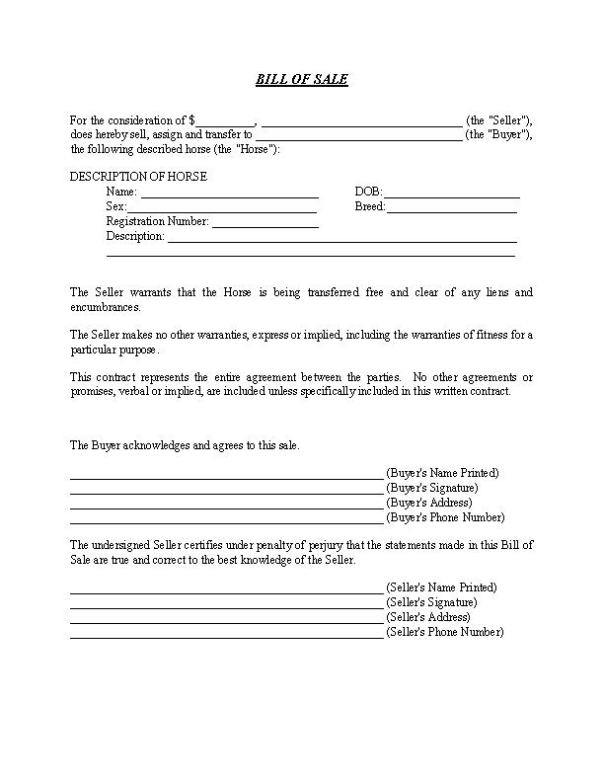 Vermont Horse Bill of Sale Form