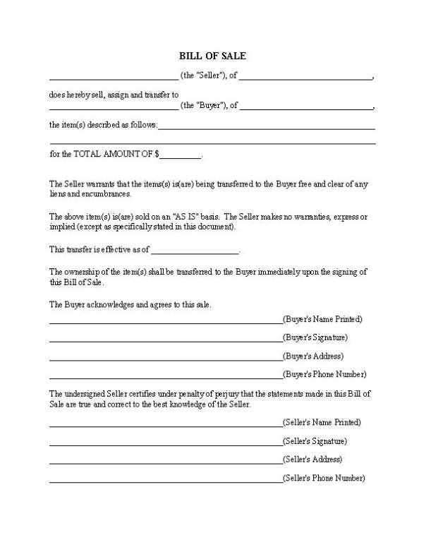 Generic Bill of Sale Form Fillable PDF