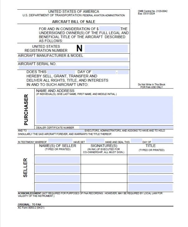 Aircraft Bill of Sale Form