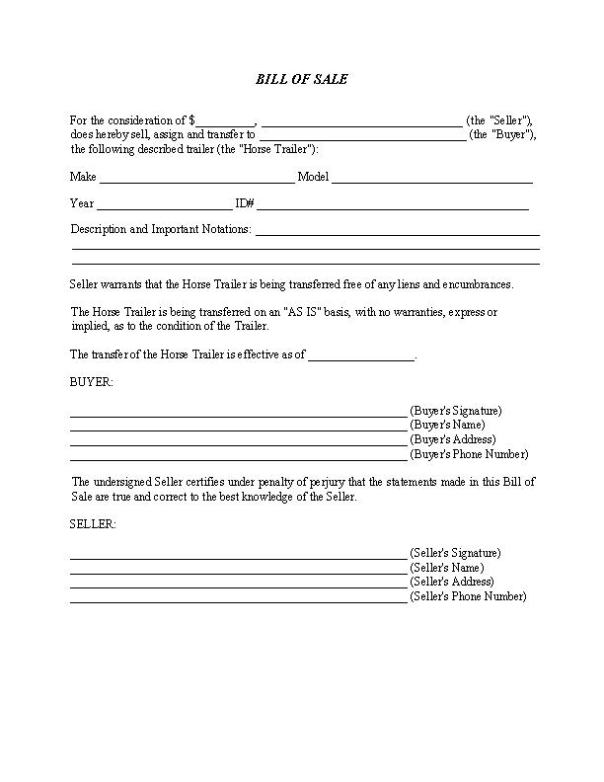 Horse Trailer Bill of Sale Form