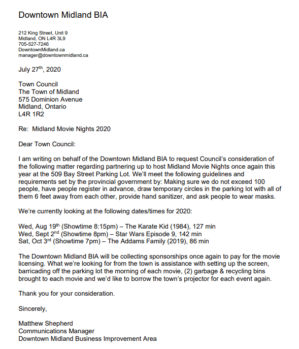 Midland BIA letter to Council asking for three outdoor movie nights