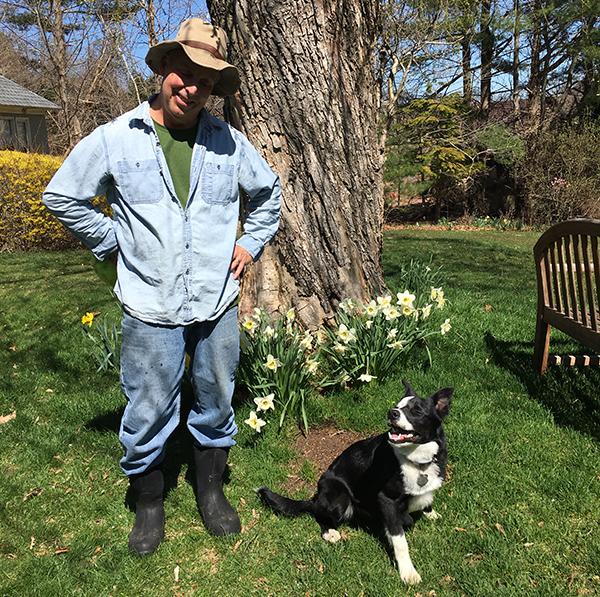 Bill Harley in boots with Django
