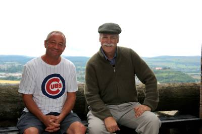 Bill and historian Bill Potter at the top of The Wallace Monument in Scotland
