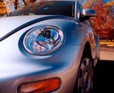 silver vw beetle