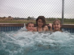 We all had fun in the outdoor hot tub (despite the continual light rain)