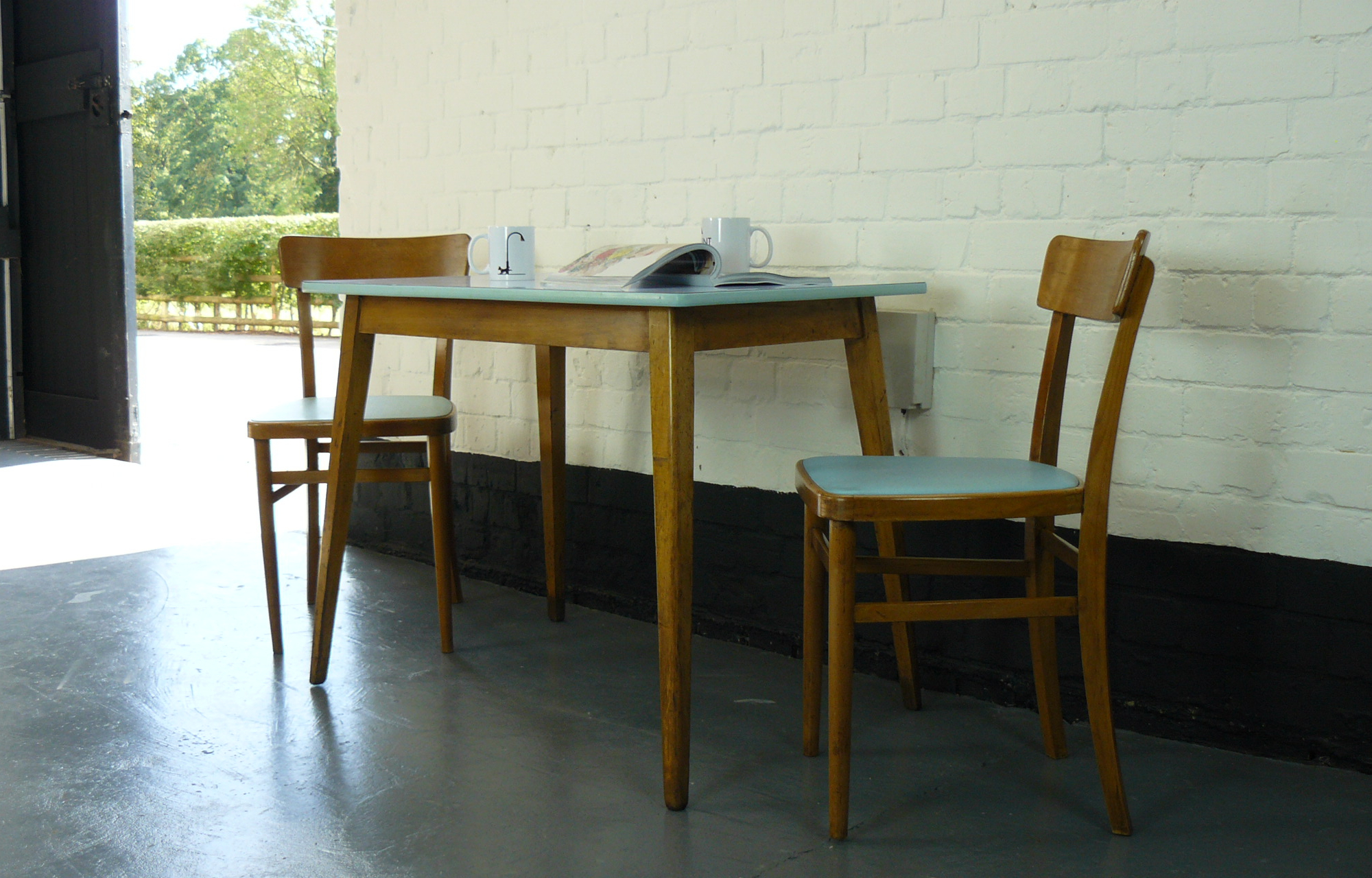 1960s Vintage Kitchen Table And Two Chairs SOLD