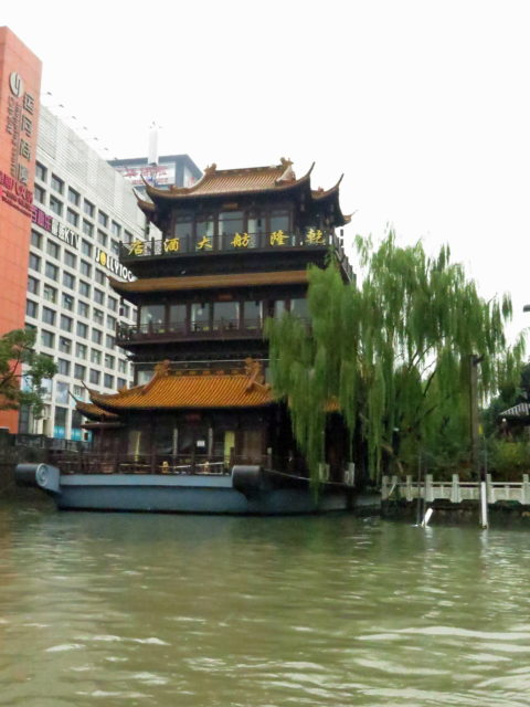 Architecture with traditional elements along the Grand Canal, Hangzhou, China, Asia.
