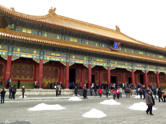Hall of Supreme Harmony at the Forbidden City, Beijing. Originally built by the MIng Dynasty in 1406. China, Asia.