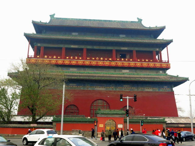 Drum Tower, Beijing. The original Drum Tower was built in 1272 during the Yuan Dynasty at the center of the imperial capital city that became Beijing. It was reconstructed and relocated to its present location by the Ming Dynasty in 1420.