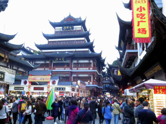 The throngs finishing up their weekend at Yu Garden Bazaar. It was here that I first got a true sense that Shanghai is the world's largest city. Old City, Shanghai, China, Asia.