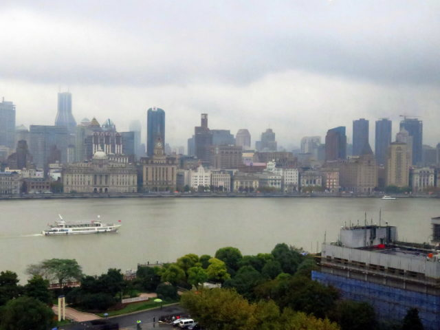 Beautiful view of the Bund from my lunch spot in Pudong. Bund, Shanghai, China, Asia.