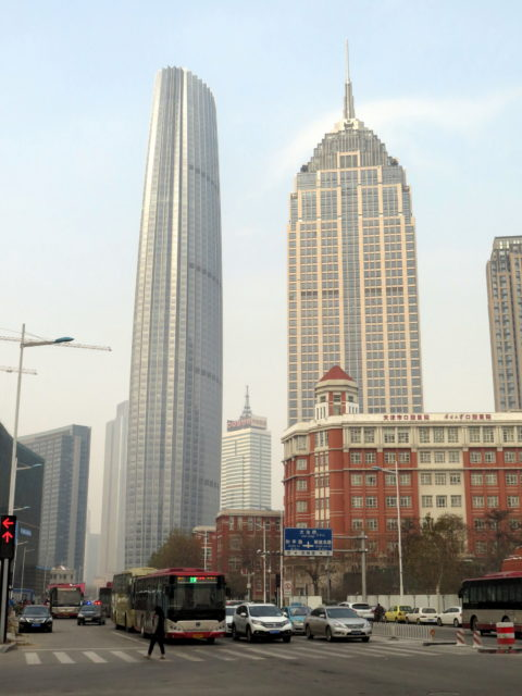 Well, here's some Tianjin modernity for a change! On the left, Tianjin World Financial Center. On the right, Financial Street Heping Center, yet another building that reminds me of an Asian Empire State Building. Tianjing, China, Asia.