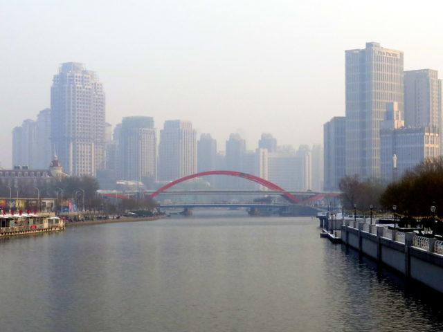 This was the prettiest view I had all day, featuring the lovely Jingang Bridge. Tianjin, China, Asia.