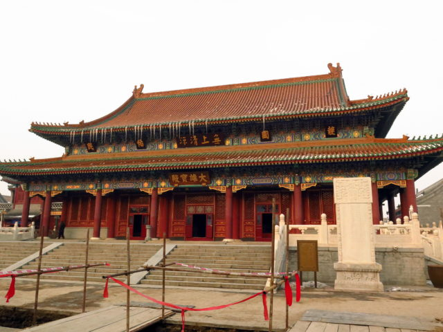 The Grand Hall at the Temple of Great Compassion. (Pardon the ongoing construction.) Tianjin, China, Asia.