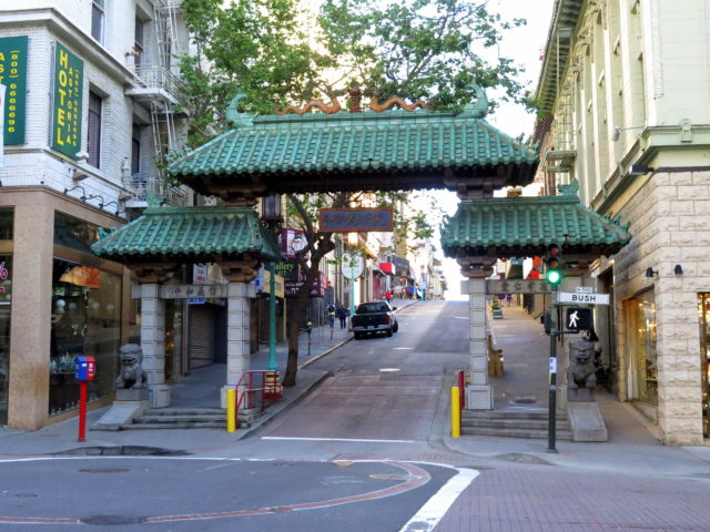 Welcome to Chinatown! Enter here through the Dragon Gate. San Francisco, United States, North America.