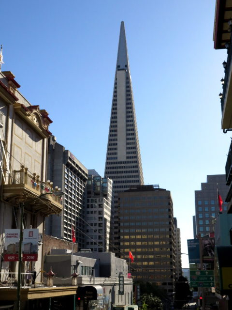 No matter where you are in Downtown San Francisco, including Chinatown, it's hard to escape the Transamerica Pyramid. Once the tallest building in the West, it's the tallest building in San Francisco. But not for much longer. San Francisco, United States, North America.