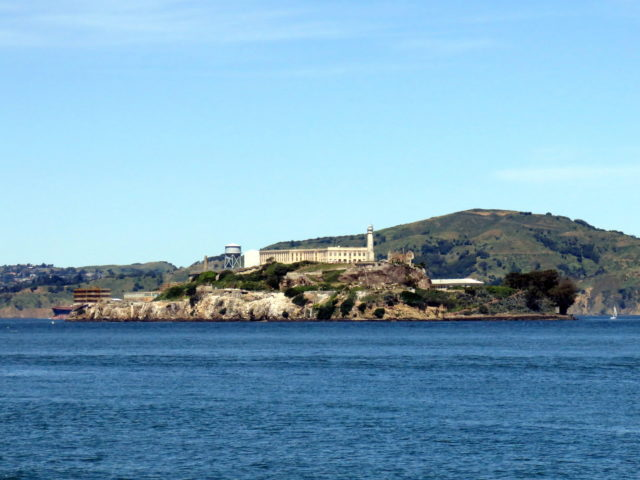 View of Alcatraz from Fisherman's Wharf. Alcatraz, San Francisco, United States, North America.