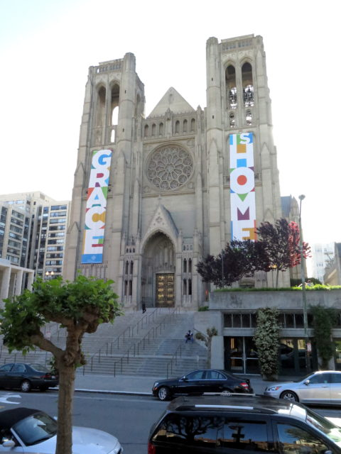 Beautiful Grace Cathedral. Construction began in 1928 on land donated by Charles Crocker's son William to replace the previous Episcopal cathedral destroyed in the earthquake. William's mansion on the site was destroyed in the earthquake. Construction was completed in 1964. Martin Luther King, Jr., gave a sermon at the consecration celebrations. It was built in a French Gothic style, which is why it may remind you of the Notre Dame. San Francisco, United States, North America.