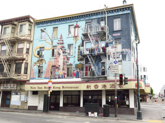 "Where North Beach and Chinatown meet, Bill Weber's ""Jazz Mural"" (1987) celebrates the 2 neighborhoods. On the left are China-themed scenes. The corner represents the Barbary Coast. San Francisco, United States, North America."