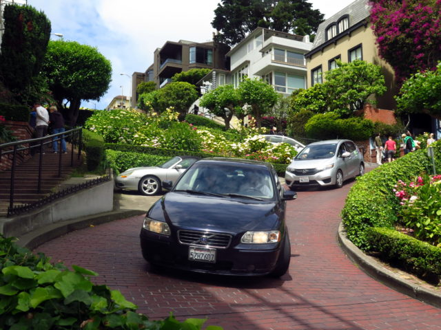 Cars coming around the curves. San Francisco, United States, North America.