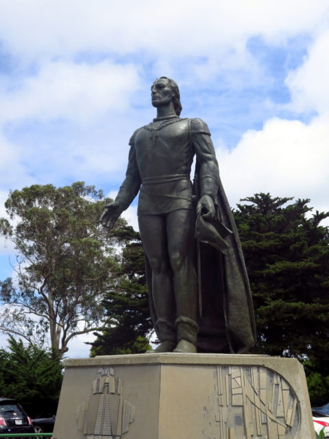 Outside Coit Tower, a statue of Christopher Columbus, hero of Italians in North Beach and everywhere. San Francisco, United States, North America.