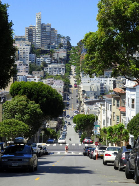 Looking down Telegraph Hill to the famous crooked bends of Lombard Street on the eastern slope of Russian Hill. San Francisco, United States, North America.