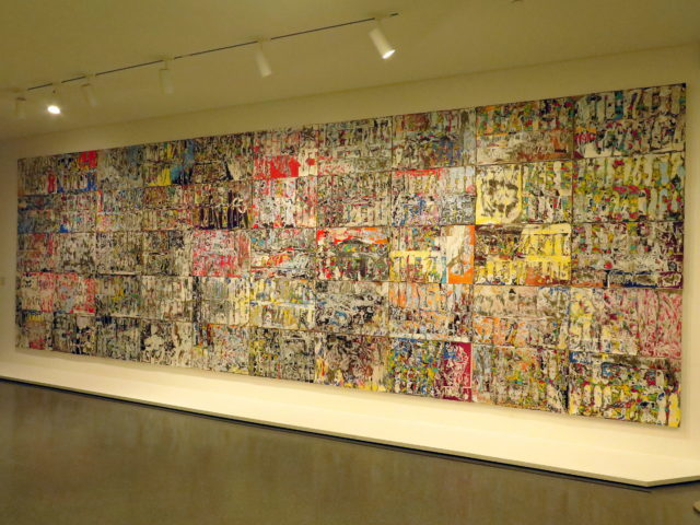 """Why not start off with something large-scale and Pollock-esque? """"Thievery by Servants"""", Mark Bradford, 2013. (Sorry the color is a bit off on this one. I still had my camera set for the outside.) SFMOMA, San Francisco, United States, North America."""
