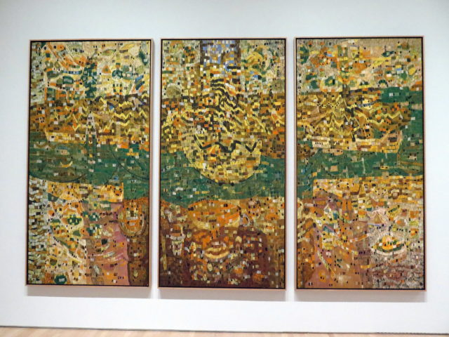 """This one caught my eye. I think I'm drawn to triptychs. """"Dynaton Triptych"""" by Lee Mullican, 1952. At the time, he was a member of the short-lived SF-based Dynaton art movement. SFMOMA, San Francisco, United States, North America."""