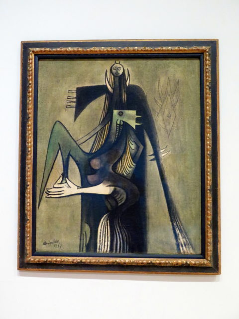 """""""Un coq pour Chango"""" (""""A Rooster for Shango"""") by Wifredo Lam, 1947. I look at this and just think, """"Wow, that guy has a small head!"""" SFMOMA, San Francisco, United States, North America."""
