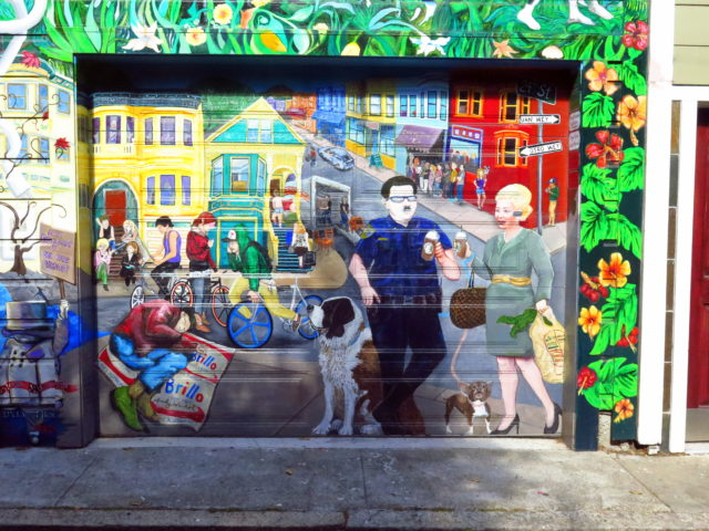 One scene from a large anti-gentrification mural. (Note the Starbucks cups and the Bluetooth earpiece while a homeless man sleeps on the street.) San Francisco, United States, North America.