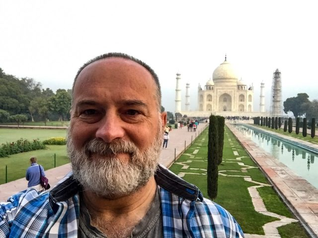 Here I am at the incredible Taj Mahal! Despite all the challenges of my trip, seeing the Taj (and so much more) made it all worthwhile. Taj Mahal, Agra, India, Asia.