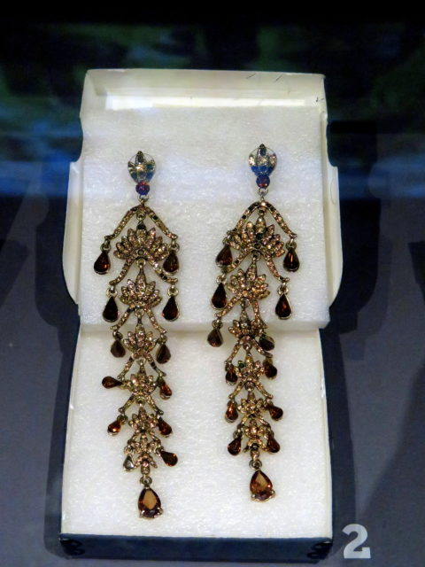 Extravagant earrings worn by legendary drag/transgender performer Vicki Marlane. She began performing in the '50s and continued on into the 21st century. San Francisco, United States, North America.