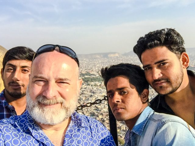 New buddies excited to see a pale foreigner at Nahargarh Fort. Jaipur, India, Asia.