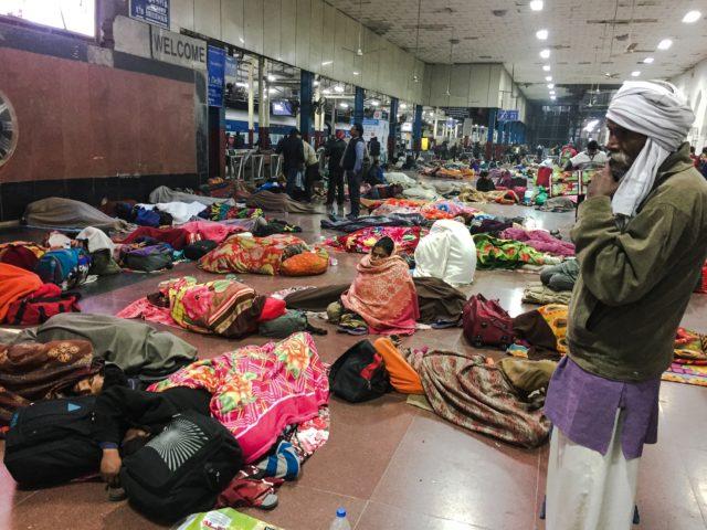 4 a.m. in Old Delhi station. Delhi, India, Asia.