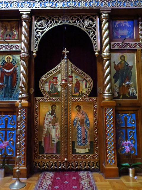 A colorful niche in the Holy Virgin Cathedral. San Francisco, United States, North America.