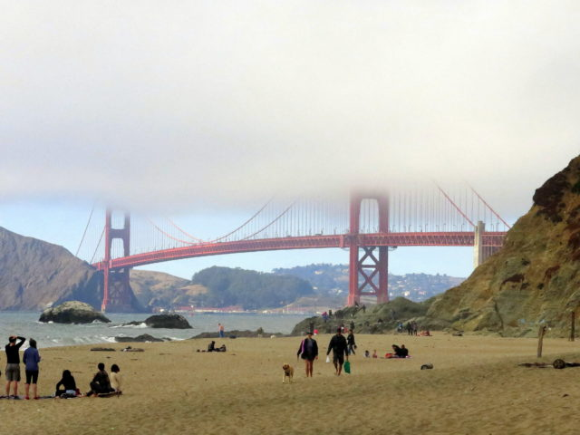 This beach comes with an unsurpassed view (even with the fog)! Golden Gate Bridge, San Francisco, United States, North America.