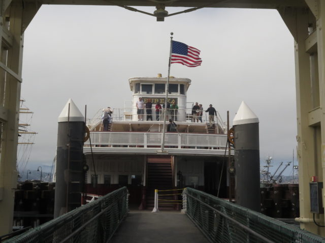 The upper decks of the ferry Eureka on Hyde Street Pier at San Francisco Maritime National Historical Park. San Francisco, United States, North America.