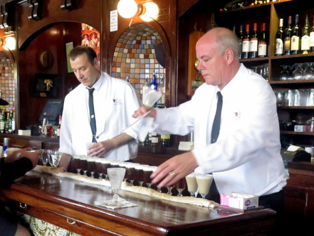 Lining up the Irish coffees at the Buena Vista. San Francisco, United States, North America.