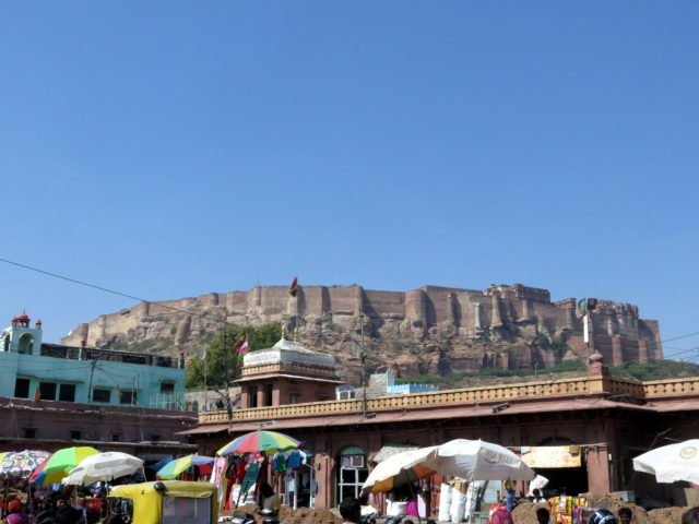 A beautiful blue sky over Jodhpur and Mehrangarh Fort. Jodhpur, India, Asia.