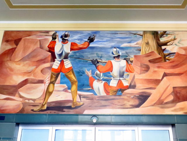 """Conquistadors discover the Pacific"" depicts a few of the folks who destroyed the Ohlone's way of life. San Francisco, United States, North America."