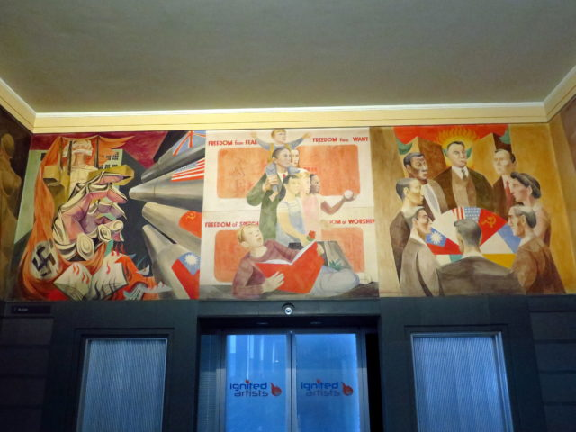 "The Rincon Center's series of murals climaxes with ""War and Peace"". On the left, the Allies defeating Fascism. On the right, the United Nations is formed in San Francisco. In the center, FDR's Four Freedoms. San Francisco, United States, North America."