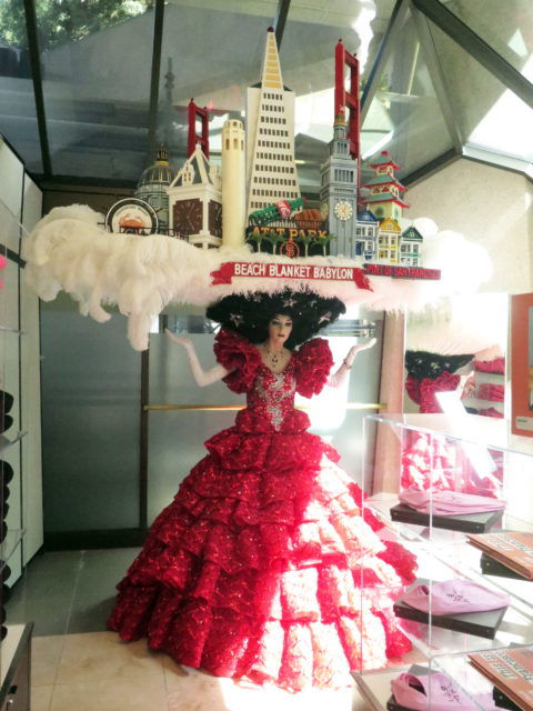 On display at the Transamerica Pyramid's visitor center, costume from the finale of Beach Blanket Babylon, featuring the famous San Francisco skyline headdress. San Francisco, United States, North America.