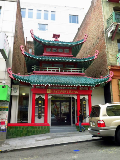 It doesn't get much more Chinatown than this! The East West Bank building was originally built around the turn of the 20th century as the Chinatown Telephone Exchange. San Francisco, United States, North America.